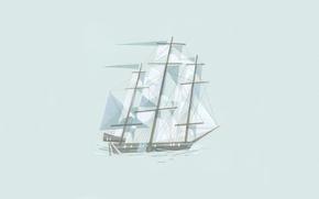 Обои минимализм, иллюстрация, корабль, рисунок, кубизм, линии