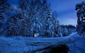 Картинка зима, небо, снег, пейзаж, природа, дом, house, white, sky, landscape, nature, beautiful, winter, snow, scenery, …