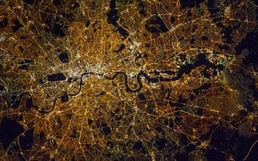 Картинка город, Англия, Лондон, фото NASA, сделано с МКС