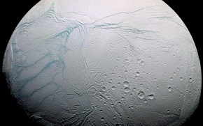 Картинка планета, спутник, энцелад