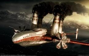 Обои самолет, дым, трубы