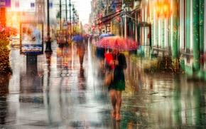 Картинка девушка, капли, дождь, зонт, Санкт-Петербург, Россия, Невский проспект