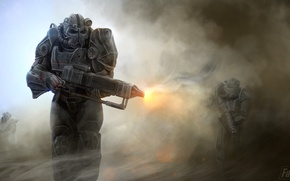 Обои helmet, armor, Fallout 4, soldier, gun