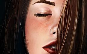 Картинка лицо, волосы, арт, губы, веснушки, живопись, art, крупным планом, Gabrielle Ragusi