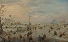 Картинка картина, жанровая, Хендрик Аверкамп, Ледовые Развлечения