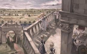 Картинка облака, стол, дым, поля, дома, ворота, горизонт, хозяйка, усадьба, сервировка, дворецкий, рекa, горничные, белкон, стражник