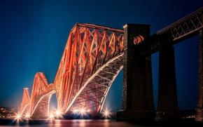 Картинка мост, город, огни, вечер, Шотландия, подсветка, залив, Scotland, Эдинбург, Edinburgh, Alba, Forth Bridge, Форт-Бридж, Ферт-оф-Форт