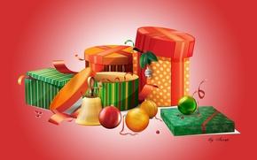 Картинка новый год, рождество, лента, подарки, елочные игрушки