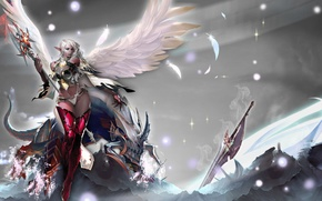 Обои девушка, магия, крылья, монстр, меч, посох, Lineage, доспех, Dark Elf