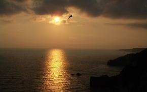 Обои солнце, закат, ночь