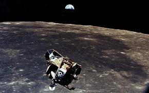 Обои луна, земля, аполлон 11, корабль