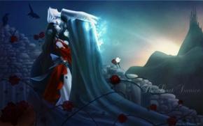 Картинка восход, розы, прощание, вампир, чистокровный, Charlotte, Vampire Hunter D, щипы, Ди охотник на вампиров, Meier …