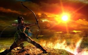 Картинка девушка, закат, лук, tomb raider, Lara Croft