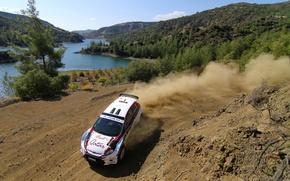 Картинка пыль, поворот, ford, intercontinental rally challenge, ciprus 2011, al attiyah