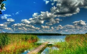 Картинка лес, небо, облака, река, лодка, мостик, заводь
