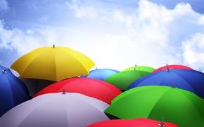 Картинка облака, зонты, яркость