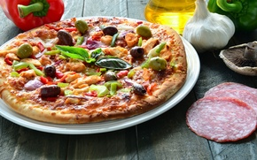 Картинка зелень, грибы, масло, перец, пицца, чеснок, начинка
