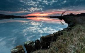 Картинка небо, закат, озеро, дерево, вечер