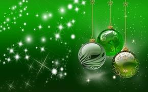 Картинка шарики, лучи, праздник, узор, игрушки, блеск, шар, бантик, звездочки