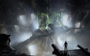 Обои чудовище, человечек, зеленое