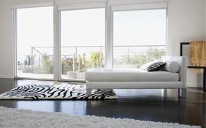 Обои белый, дизайн, ковер, цвет, кровать, интерьер, окно, зебра, подушка