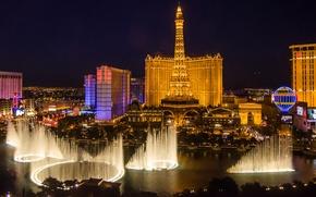 Картинка небо, огни, башня, дома, вечер, Лас-Вегас, фонтан, США, Невада, казино