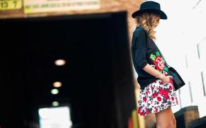 Обои new-york, fashion week, spring-2014, street style, rose print dress
