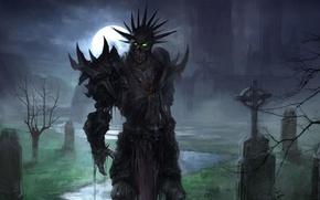 Картинка moon, fantasy, undead, armor, green eyes, night, art, background, artwork, chapel, skeleton, graveyard