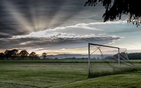 Картинка поле, спорт, утро, ворота