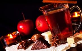 Картинка чай, яблоки, шоколад, свечи, конфеты, сахар, корица