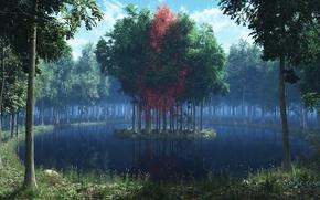 Картинка лес, трава, листья, деревья, озеро, красное, островок, рендер