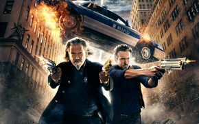 Картинка wallpapers, hd wallpaper, movies, Universal, smoke, Pictures, Nick, R.I.P.D., car, gun, fly, sky, Shooting, men, ...