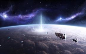 Обои корабли, астероиды, планета, взрыв, атмосфера, Stefan Veselinov, The Experiment, космос, звезды