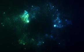 Картинка космос, туманность, звёзды, арт, скопление