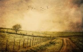 Картинка дорога, стиль, фон, забор
