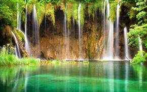 Картинка тропики, пруд, водопад, зеркальный, laguna, Waterfall