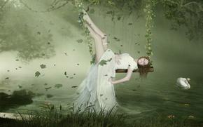 Картинка Лебедь, Листья, Платье, Качели