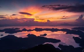 Картинка море, небо, облака, Гонконг, утро, Китай, Hong Kong, КНР