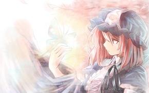 Картинка девушка, бабочка, чепчик, touhou, короткие волосы, solo, saigyouji yuyuko