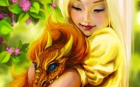 Картинка девочка, flowers, dragon, цветы, улыбка, Fantasy, art, дракон, girl, фэнтези, smile, Ink-pot, fantasy
