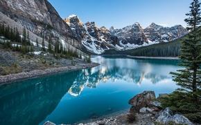 Картинка лес, снег, горы, природа, река
