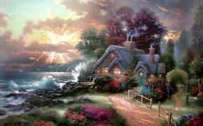 Обои море, рассвет, коттедж, Thomas Kinkade, A New Day Dawning, утренняя заря, волнующееся море