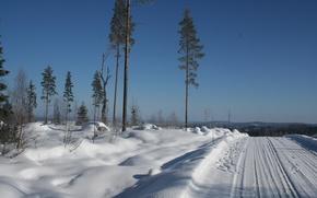 Картинка зима, дорога, снег, деревья, природа, утро, мороз, Nature, road, trees, winter, snow, morning, frost