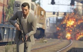 Картинка оружие, автомат, Майкл, gta, Grand Theft Auto 5