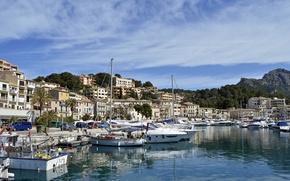 Картинка бухта, яхты, причал, катера, Испания, набережная, Spain, Майорка, Балеарские острова, Port de Soller, Порт де …
