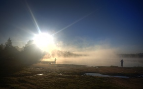 Картинка солнце, деревья, озеро, настроение, рассвет, рыбак, Туман, утро, удочка