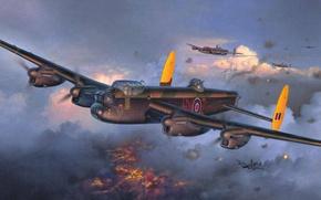 Картинка рисунок, Авро 683 Ланкастер, британский тяжёлый четырёхмоторный бомбардировщик