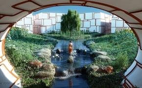 Картинка зелень, трава, девушка, солнце, линии, цветы, река, ручей, камни, дерево, сад, туннель, ткань