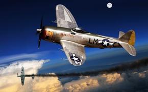 Картинка самолет, истребитель, арт, США, сражение, бомбардировщик, ВВС, Thunderbolt, враг, P-47, WW2., небе, сбит