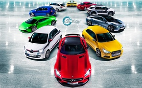 Картинка Volkswagen, Blue, Ferrari, Top Gear, Green, White, Colors, BMW, Audi, Mercedes-Benz, Lamborghini, Red, Yellow, Silver, ...